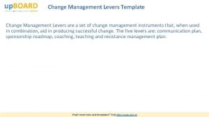 Change Management Levers Template Change Management Levers are
