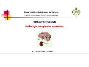 Universit Abou Bekr Belkad de Tlemcen Facult de