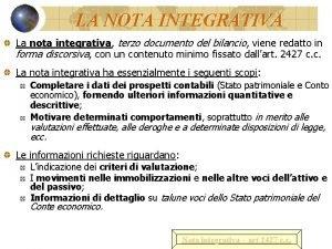 LA NOTA INTEGRATIVA La nota integrativa integrativa terzo