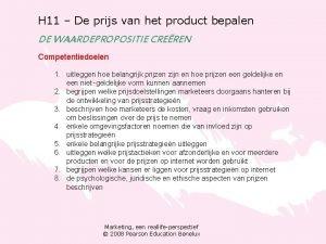 H 11 De prijs van het product bepalen