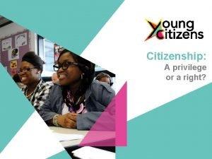 Citizenship A privilege or a right Citizenship A