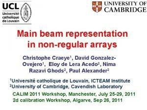 Main beam representation in nonregular arrays Christophe Craeye