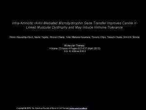 IntraAmniotic r AAVMediated Microdystrophin Gene Transfer Improves Canine