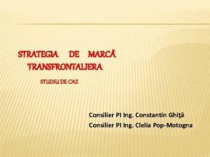 STRATEGIA DE MARC TRANSFRONTALIERA STUDIU DE CAZ Consilier