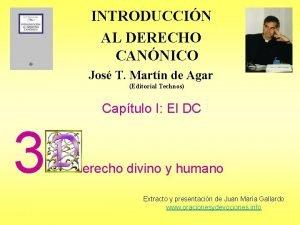 INTRODUCCIN AL DERECHO CANNICO Jos T Martn de