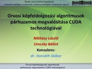 Orvosi kpfeldolgozsi algoritmusok prhuzamos megvalstsa CUDA technolgival Nikhzy