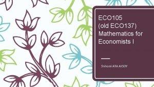 ECO 105 old ECO 137 Mathematics for Economists