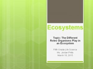 Ecosystems Topic The Different Roles Organisms Play in