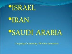 ISRAEL IRAN SAUDI ARABIA Comparing Contrasting SW Asian
