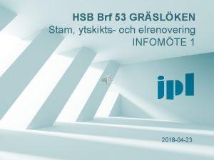 HSB Brf 53 GRSLKEN Stam ytskikts och elrenovering