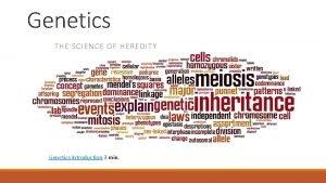 Genetics THE SCIENCE OF HEREDITY Genetics Introduction 3