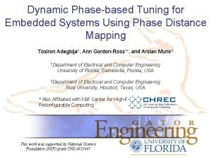 Dynamic Phasebased Tuning for Embedded Systems Using Phase