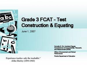 Grade 3 FCAT Test Construction Equating June 1