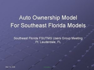 Auto Ownership Model For Southeast Florida Models Southeast