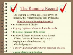 The Running Record is a record or errors