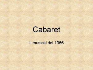 Cabaret Il musical del 1966 Il musical del