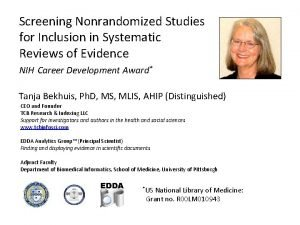 Screening Nonrandomized Studies for Inclusion in Systematic Reviews