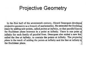 Projective Geometry Projective Geometry Projective Geometry Projective Geometry