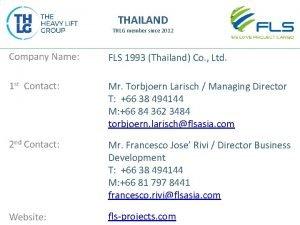 THAILAND THLG member since 2012 FLS 1993 Thailand
