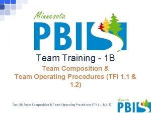 Team Training 1 B Team Composition Team Operating