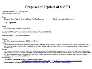 Proposal on Update of SSFH Document Number C