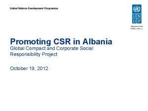 United Nations Development Programme Promoting CSR in Albania