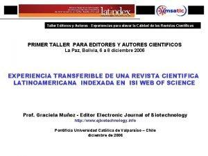 PRIMER ENCUENTRO IBEROAMERICANO DE EDITORES CIENTIFICOS Taller Editores