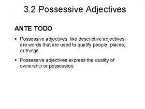 3 2 Possessive Adjectives ANTE TODO Possessive adjectives