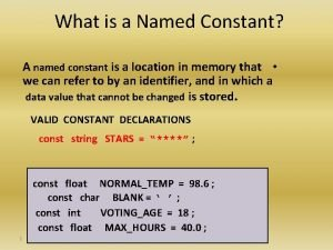 What is a Named Constant A named constant