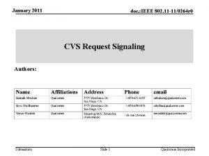 January 2011 doc IEEE 802 11 110264 r