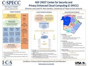 NSF Award 1736209 Founded September 2017 NSF CREST