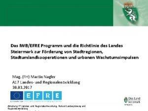 Das IWBEFRE Programm und die Richtlinie des Landes