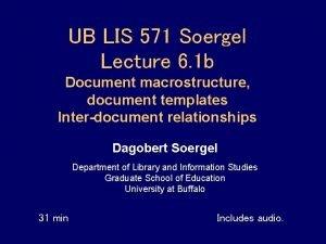 UB LIS 571 Soergel Lecture 6 1 b