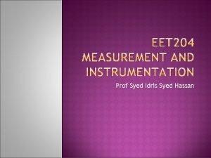 Prof Syed Idris Syed Hassan Analog instrument The