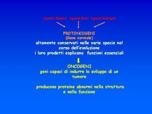 Agenti chimici Agenti fisici Agenti biologici PROTONCOGENI Gene