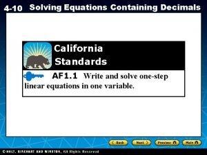 4 10 Solving Equations Containing Decimals California Standards