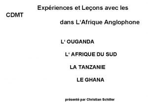 Expriences et Leons avec les CDMT dans LAfrique