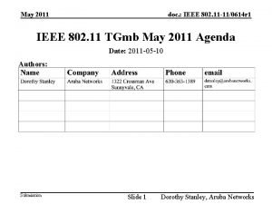 May 2011 doc IEEE 802 11 110614 r