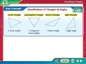 Classify Triangles by Angles A Classify the triangle