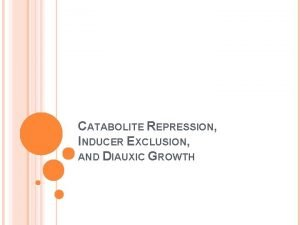 CATABOLITE REPRESSION INDUCER EXCLUSION AND DIAUXIC GROWTH HOW