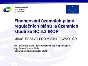 Financovn zemnch pln regulanch pln a zemnch studi