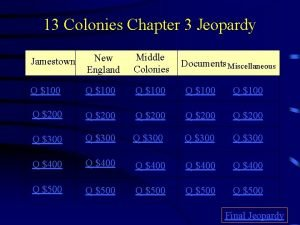 13 Colonies Chapter 3 Jeopardy Middle Colonies Jamestown