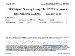 March 2007 doc IEEE 802 22 070126 00