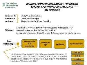 RENOVACIN CURRICULAR DEL PREGRADO PROCESO DE INTERVENCIN APRECIATIVA