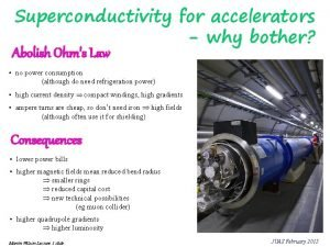 Superconductivity for accelerators why bother Abolish Ohms Law