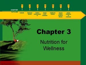 CHAPTER OUTLINE Nutrients Balancing the Diet Nutrient Supplementati
