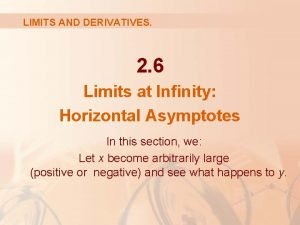 LIMITS AND DERIVATIVES 2 6 Limits at Infinity
