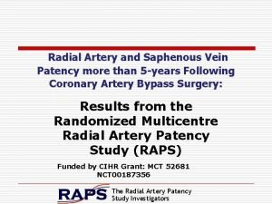 Radial Artery and Saphenous Vein Patency more than