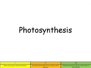 Photosynthesis State the purpose of photosynthesis Describe photosynthesis