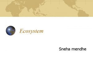 Ecosystem Sneha mendhe Contents What is an ecosystem